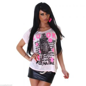 JELA LONDON☆KURZARM☆SHIRT☆MIT PRINT☆ROSE☆ ONE SIZE-0