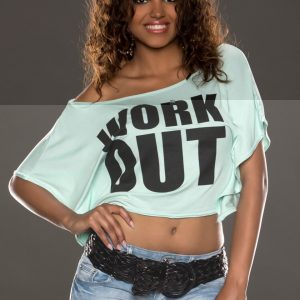 "LÄSSIGES☆TOP☆SHIRT☆""WORK OUT""☆MINTGRÜN~SCHWARZ☆ONE SIZE-0"