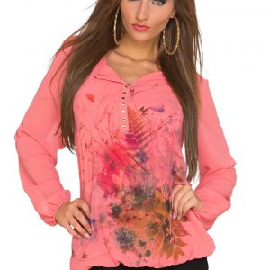 LANGARM☆SHIRT☆FLOWERS☆MIT TOP~TRANSPARENT☆CORAL☆ONE SIZE-0