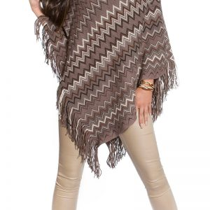 STRICK~PONCHO~MIT ZICK-ZACK-MUSTER~CAPPUCCINO~ONE SIZE-0