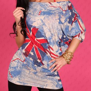 Cooles☆Fledermaus☆LonG-Shirt☆mit British-Print ☆Blau☆34-38☆-0
