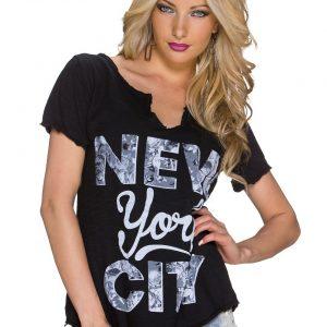 """COOLES KURZARM SHIRT """"NEW YORK CITY"""" SCHWARZ GR.36-38-0"""
