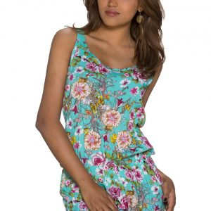 HOT █ HOTPANTS-OVERALL~MIT BLUMENMUSTER~MULTICOLOR-TÜRKIS~GR.34-38/ONE SIZE-0