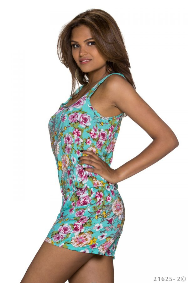 HOT █ HOTPANTS-OVERALL~MIT BLUMENMUSTER~MULTICOLOR-TÜRKIS~GR.34-38/ONE SIZE-2291