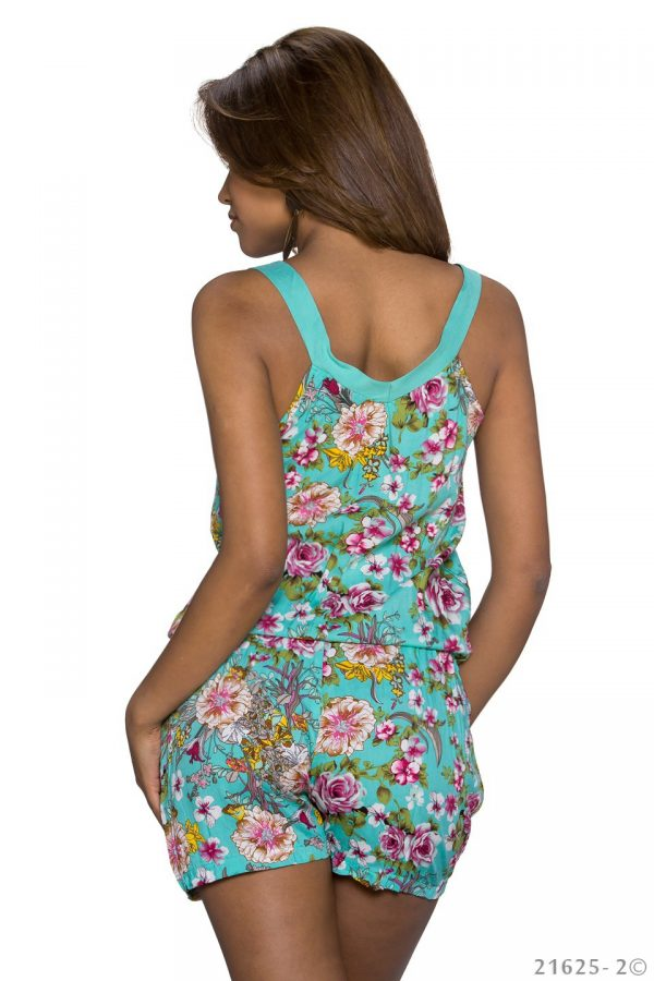 HOT █ HOTPANTS-OVERALL~MIT BLUMENMUSTER~MULTICOLOR-TÜRKIS~GR.34-38/ONE SIZE-2293