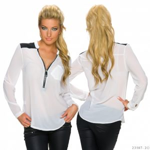 HOT☆BLUSE☆TUNIKA☆FISCHERHEMD~ZIPPER~WEISS☆34-38/ONE SIZE-0