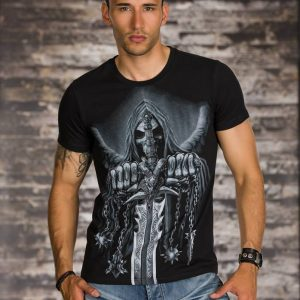 COOLES ▌KURZARM-SHIRT▌MIT GOTHIC-PRINT ▌BLACK ▌Gr.XL ▌NEW-0