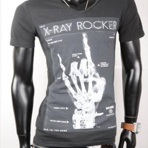 "BELMAN-KURZARM-SHIRT-PRINT""X-RAY ROCK""-BLACK-GR.M/L-0"