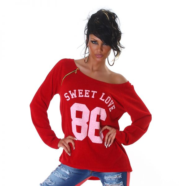 """HOT PULLOVER """"SWEET LOVE 86"""" ROT~GR.34-38/ONE SIZE-3523"""