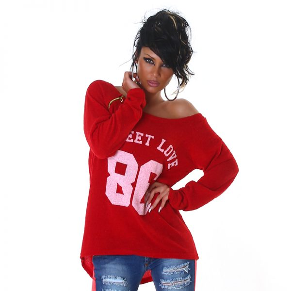 """HOT PULLOVER """"SWEET LOVE 86"""" ROT~GR.34-38/ONE SIZE-0"""