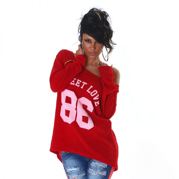 """HOT PULLOVER """"SWEET LOVE 86"""" ROT~GR.34-38/ONE SIZE-3526"""