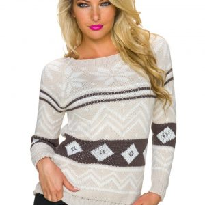HOT☆KUSCHEL☆STRICK☆PULLOVER~NORWEGER-STYLE☆BEIGE☆34-38/ONE SIZE-0