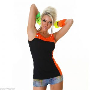 ▌TRÄGER-TOP ▌MIT ZIERKNÖPFE ▌BLACK-ORANGE ▌GR.34-38/ONE SIZE-0