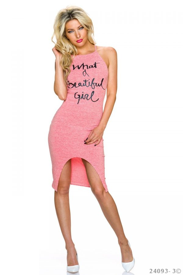 """NECK★RIPPSTRICK-TRÄGER-KLEID★CORAL★""""WHAT A BEAUTIFUL GIRL""""GR.34-36/S/M★ -0"""