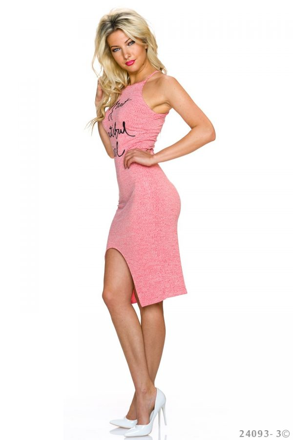 """NECK★RIPPSTRICK-TRÄGER-KLEID★CORAL★""""WHAT A BEAUTIFUL GIRL""""GR.34-36/S/M★ -3697"""