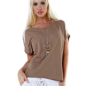 LÄSSIGES-SHIRT~PAILLETTEN~KETTE~LATTE~GR.34-38/ONE SIZE-0